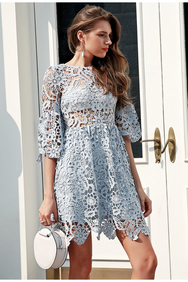 Hollow Out Blue Lace Dress - BellaChics
