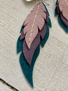 Cora - Layered Leather Feather Earrings
