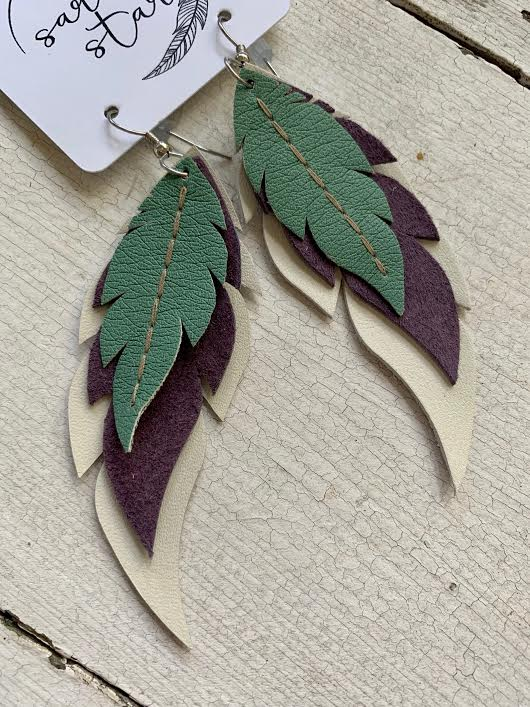 Mint Requiem - Layered Leather Feather Earrings