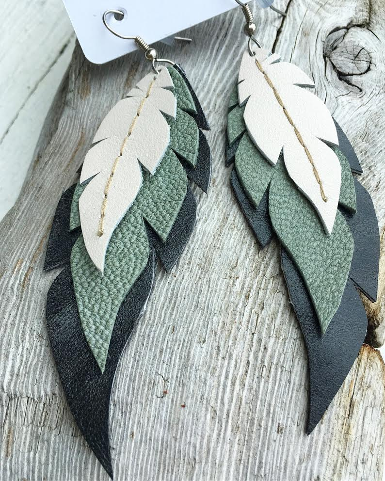 Sage & Stone-Layered Leather Feather Earrings