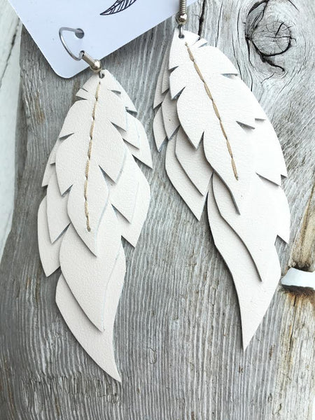 Lumin - Layered Leather Feather Earrings