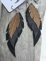 Acacia - Layered Leather Feather Earrings