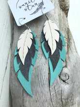 Rio - Layered Leather Feather Earrings