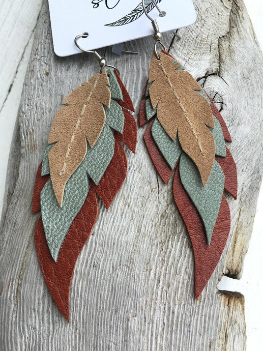 South by Southwest - Layered Leather Feather Earrings