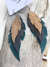 Oceana - Layered Leather Feather Earrings