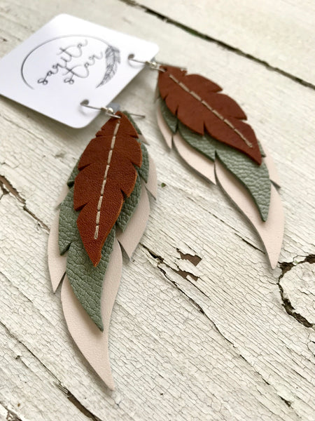 Earthy Southwest - Layered Leather Feather Earrings