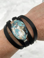 Dyed Agate Wrap Bracelet -black