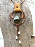 Green Ocean Jasper Drop Necklace