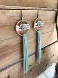 star duster earrings~mint green & jasper