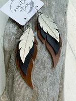 Badlands - Layered Leather Feather Earrings