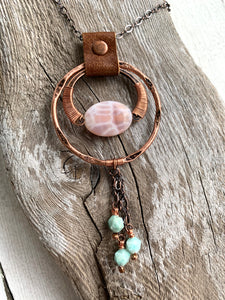 Fire Agate & Amazonite Drop Necklace