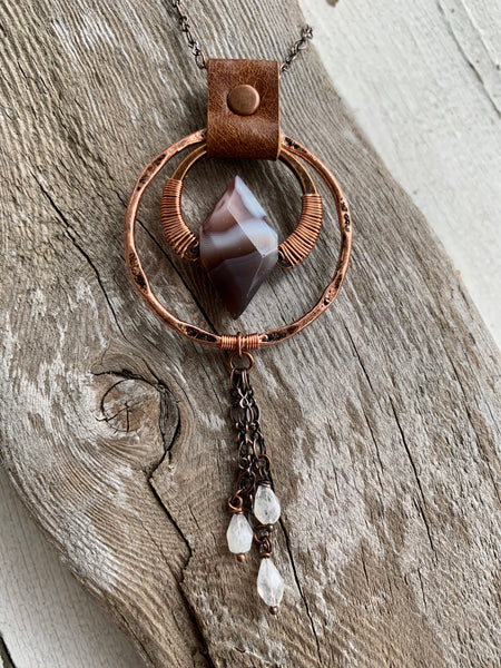 Botswana Agate & Moonstone Drop Necklace