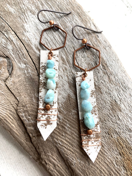 Larimar & Cowhide Hexy Sticks