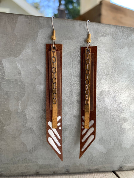 Sticks - Brown Leather and Brass Earrings