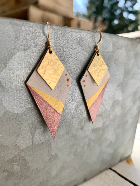 Purple & Gold Diamonds - Handpainted Leather and Brass