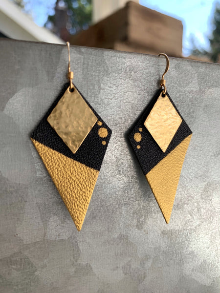 Black Diamond - Leather and Brass Handpainted Earrings