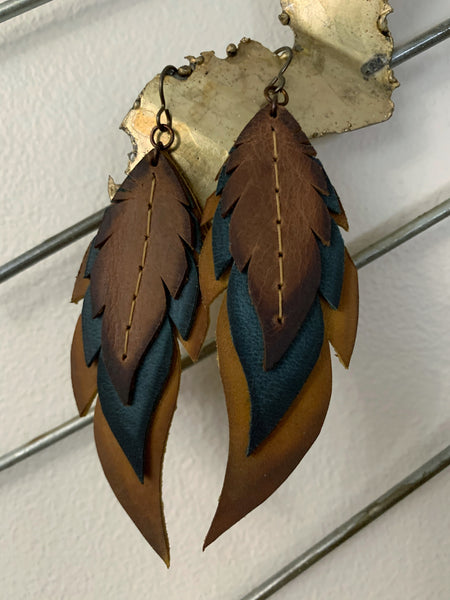 Vintage Waxed Leather Feather Earrings