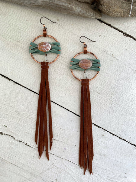 Star Duster Fringe Earrings~Agate & Moonstone