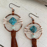 Star Duster Fringe Earrings~Jasper & Moonstone