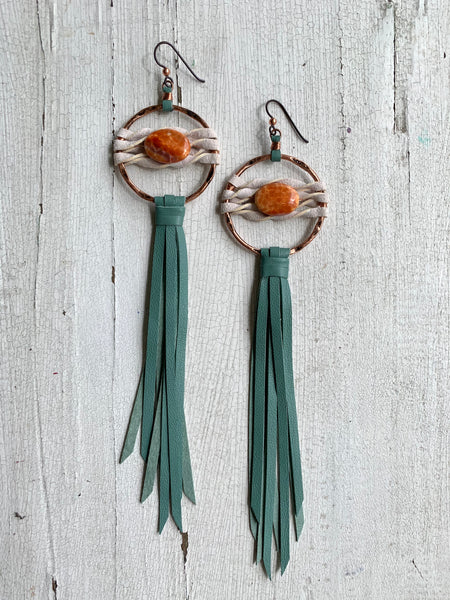 Star Duster Fringe Earrings~Mint Green & Fire Agate