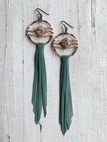 Star Duster Fringe Earrings~Mint Green & Jasper