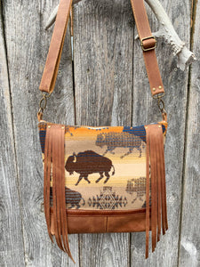 Buffalo Fringe Deluxe - Handcrafted Leather and Wool Bag