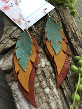 Yucca - Layered Leather Feather Earrings
