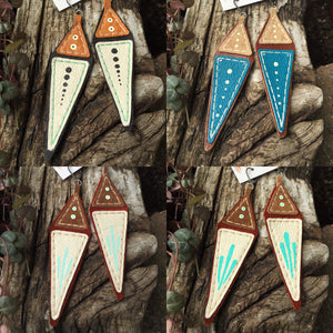 Geometric Painted Leather Earrings