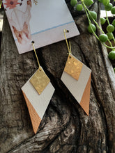 Copper White Diamonds - Leather, Brass, & Copper Handpainted Earrings