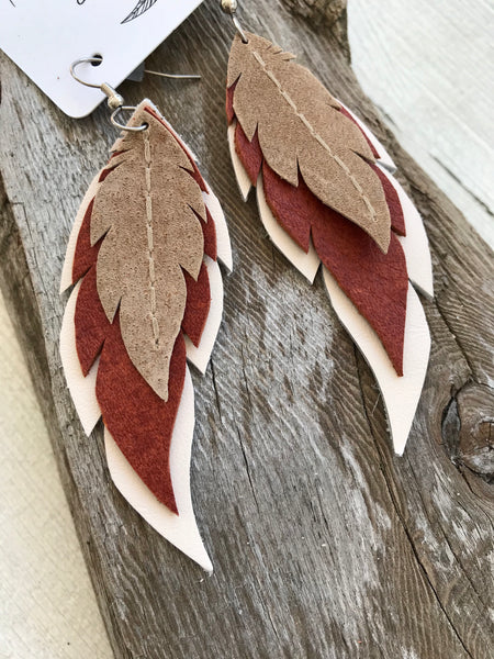Grand Canyon - Layered Leather Feather Earrings