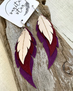 Lupine - Layered Leather Feather Earrings