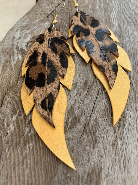 Leopard Print on Gold Feathers - Leather Earrings