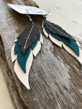 Agave - Layered Leather Feather Earrings