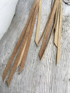 Sand - Dainty Fringe Leather Earrings