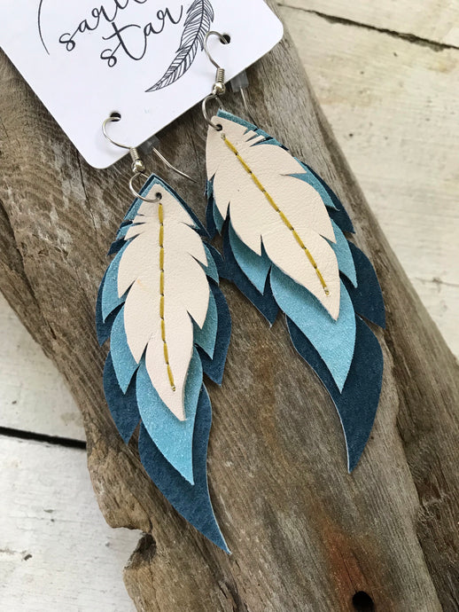 Juniper - Layered Leather Feather Earrings