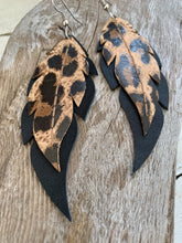 Leopard Print on Black Feathers - Leather Earrings