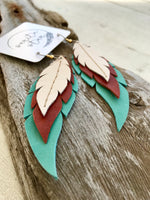 High Desert - Layered Leather Feather Earrings