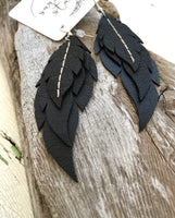 Raven - Layered Leather Feather Earrings