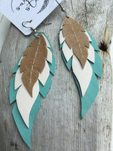 Bloom - Layered Leather Feather Earrings