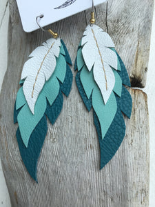 Jade - Layered Leather Feather Earrings