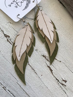 Aspen - Layered Leather Feather Earrings
