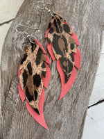 Leopard Print on Hot Pink Feathers - Leather Earrings