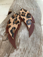 Leopard Print Feathers - Layered Leather Feather Earrings