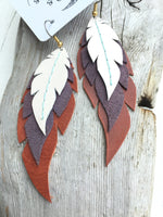 Willow - Layered Leather Feather Earrings
