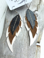 Owl - Layered Leather Feather Earrings