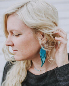 Moroccan - Layered Leather Feather Earrings