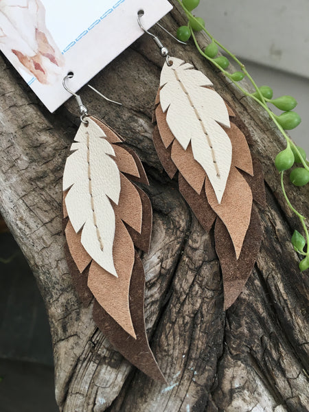 Wren-Layered Leather Feather Earrings
