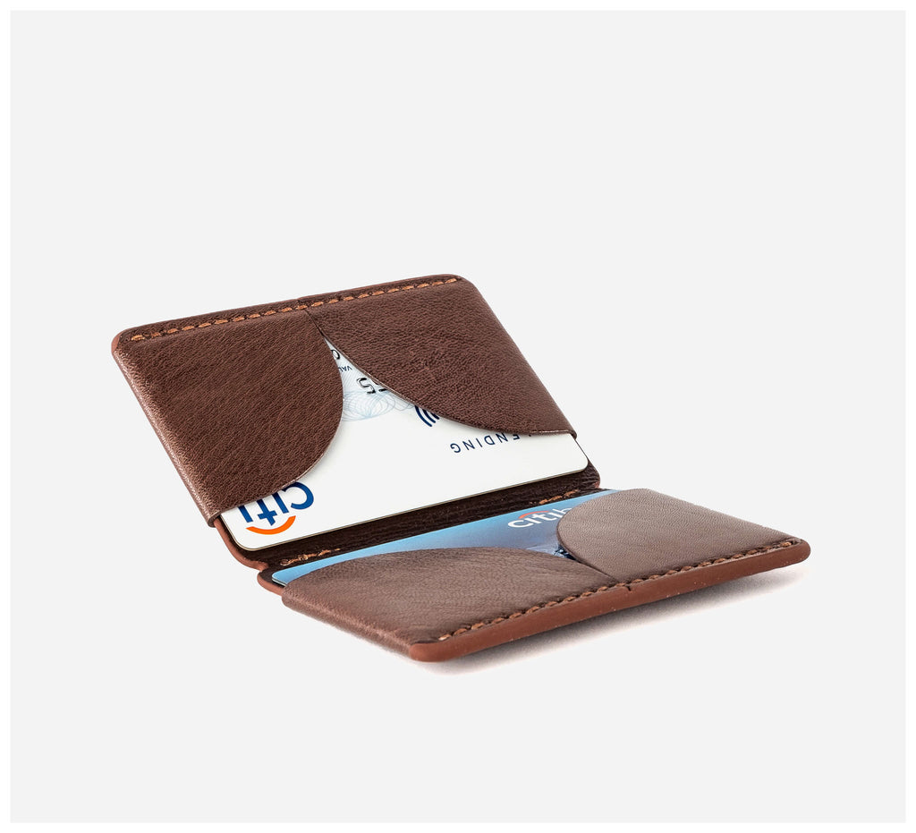 Blackinkk - Bi-fold Card Wallet RFID - Kangaroo Leather - Vintage Chocolate
