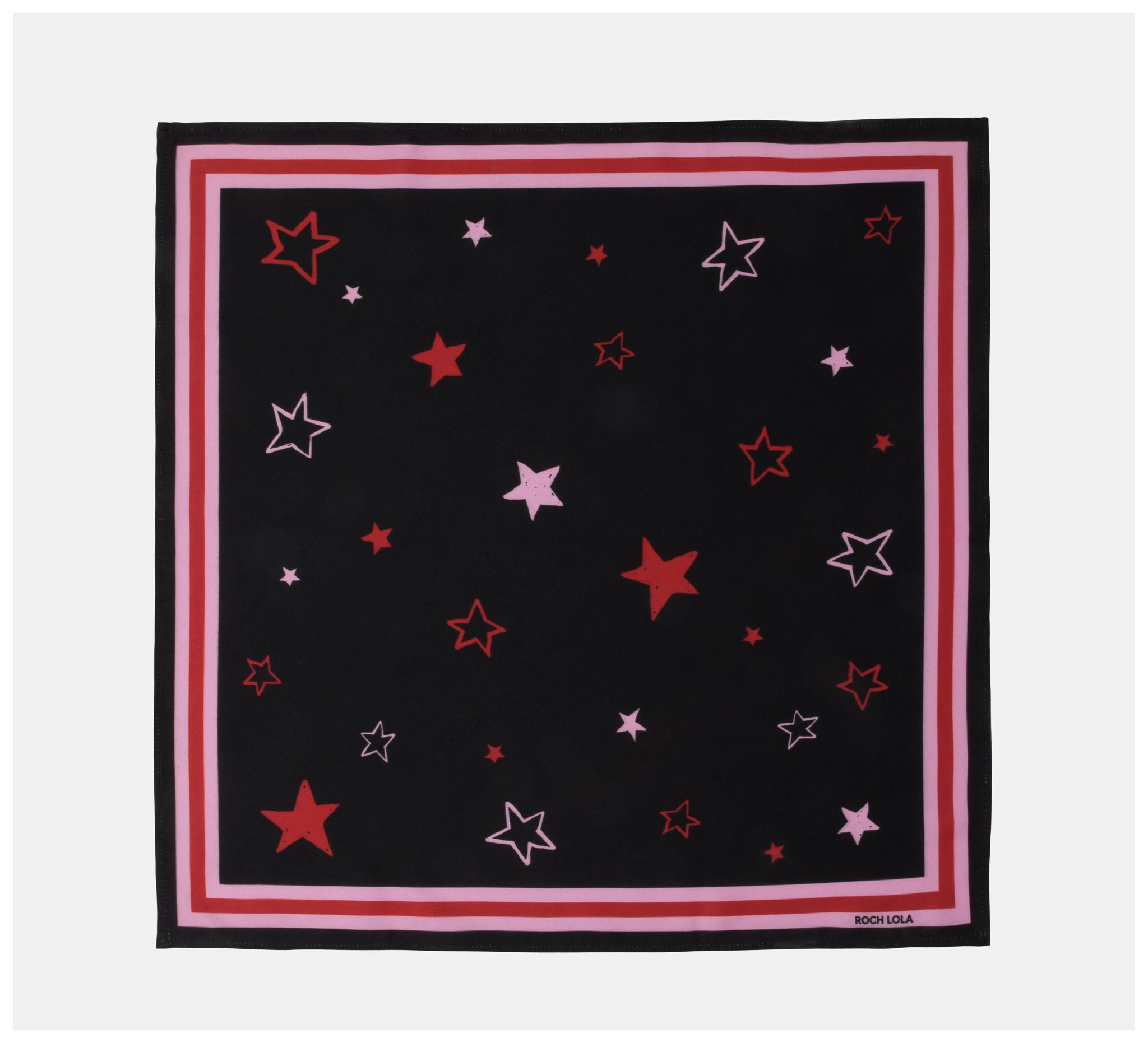 Roch Lola - The Scarf - Stars - Black/pink/red
