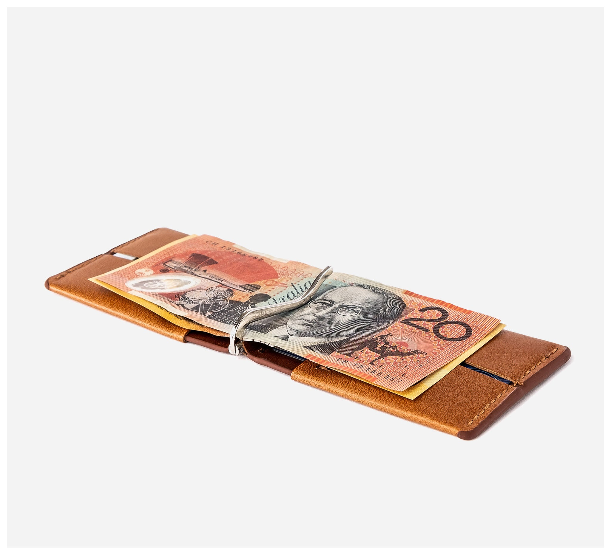 Blackinkk - Money Clip Wallet RFID - Kangaroo Leather - Vintage Caramel